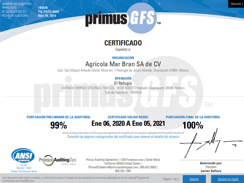 Primus Certification Western Pacific Produce