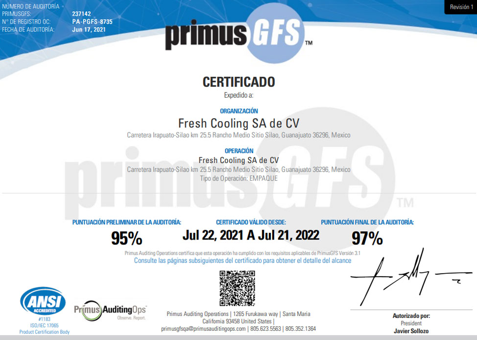 Food Safety Certification